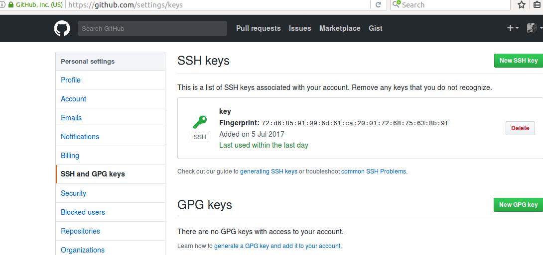 Добавть SSH ключ на github