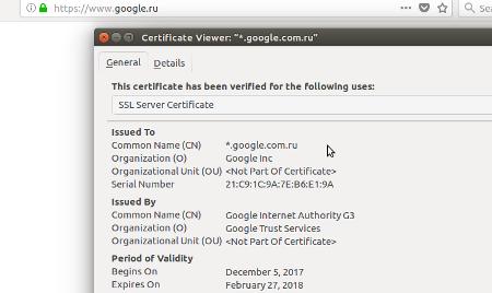 Просмотреть SSL сертификат в браузере