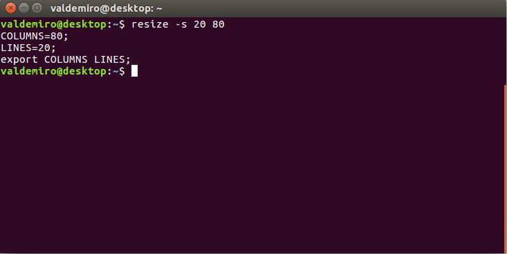 Изменить размер терминала bash